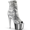 ADORE-1008SQ Silver Sequin/Chrome